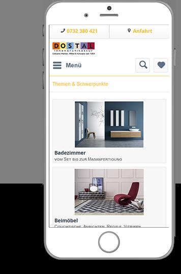 Homepage von Dostal in mobiler Ansicht