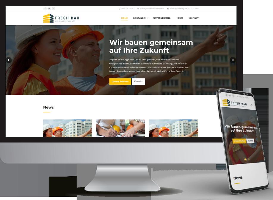 Homepage für Baufirma