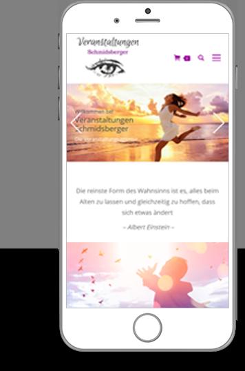 Ansicht der Webseite Veranstaltungen Schmidsberger am iPhone